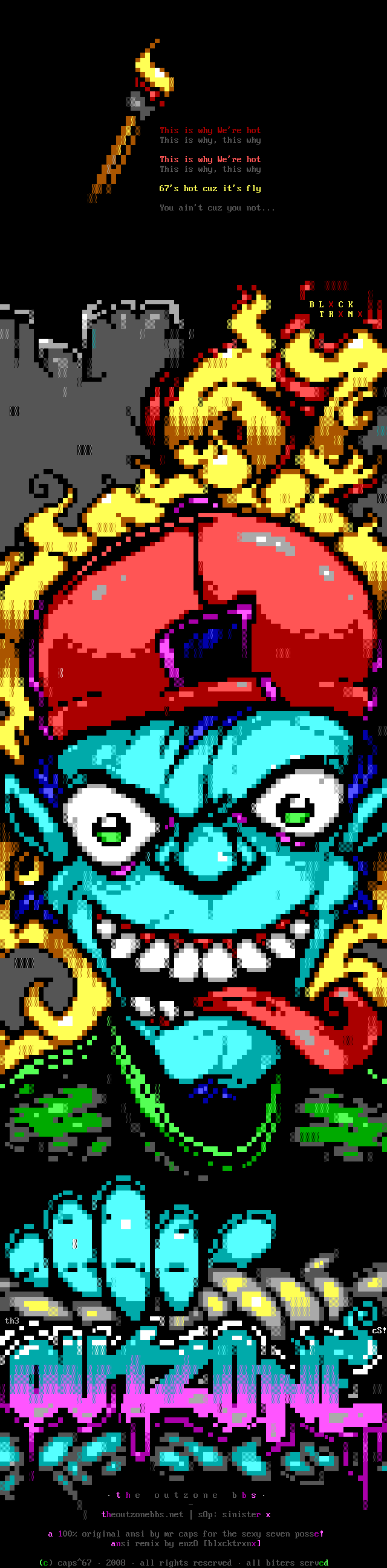 we-outzoneremix.ans, monster, cyan, yellow, green, red, fire, logo, font, hand, tongue, eye, eyes, enzo, ansi joint, joint