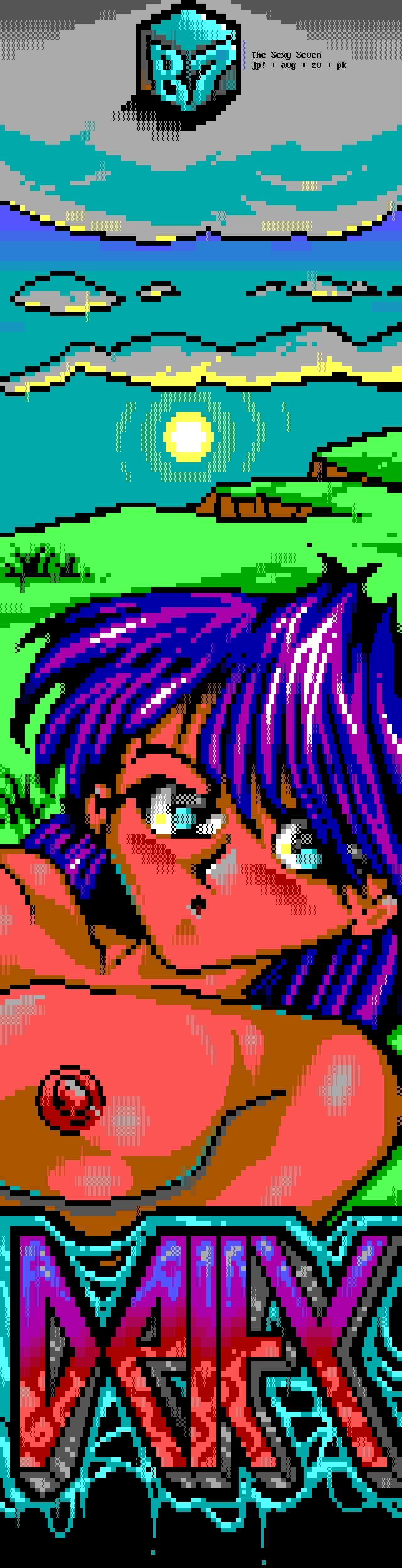 we-deity.ans, anime, manga, hentai, hair, purple, blue, gray, cyan, yellow, sun, naked, eye, eyes, logo, font, red, deity, joint, ansi joint, woman, girl, chick, japan, japanese, ivan, avg, avenging, avenging angel, zerovision, zv, enzo, luciano, luciano ayres, pook, jack phlash, jp