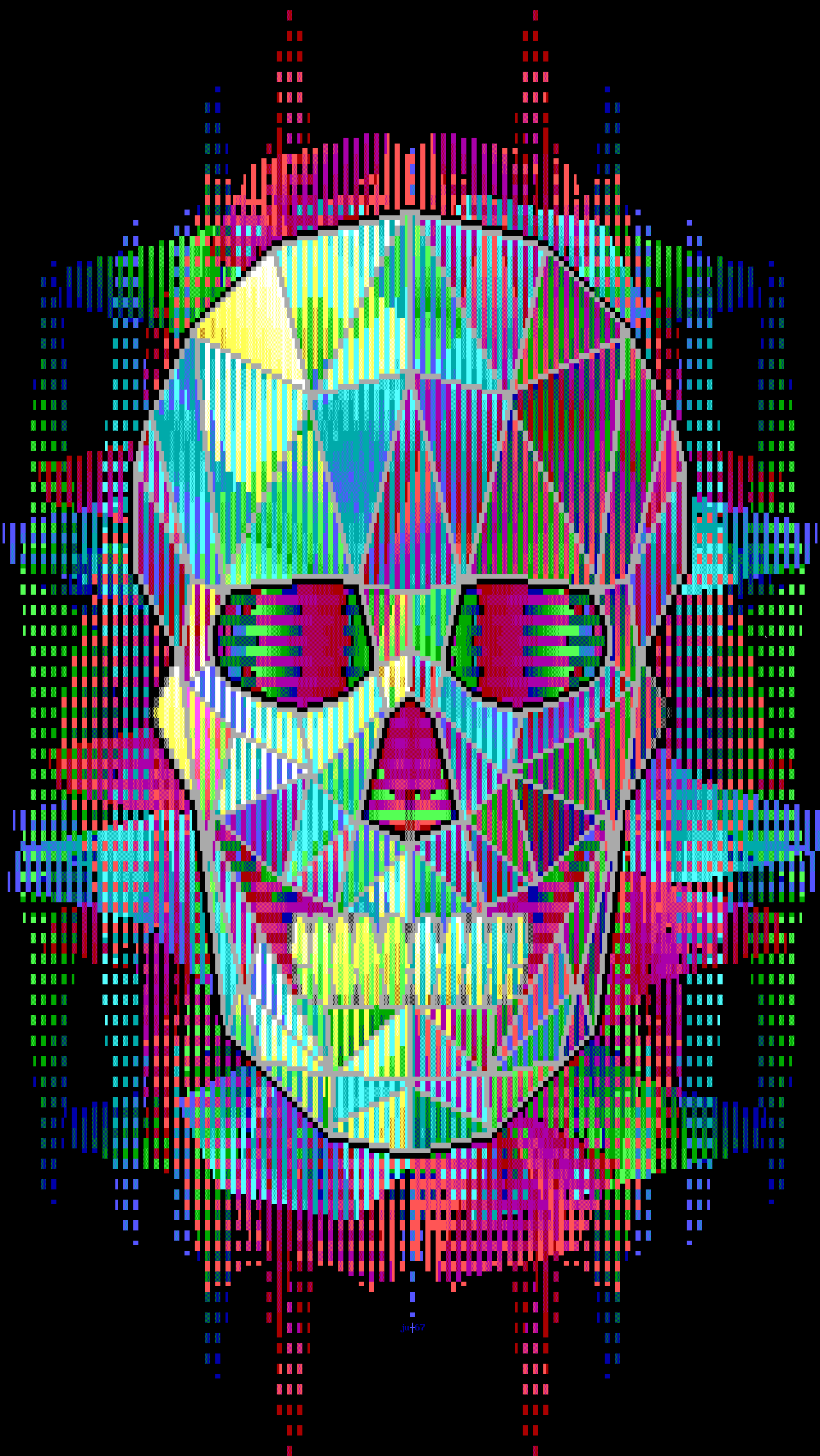 ju-geoskull.ans, skull, colors, colorful, poster, judas, ju, fractal, red, purple, blue, gree