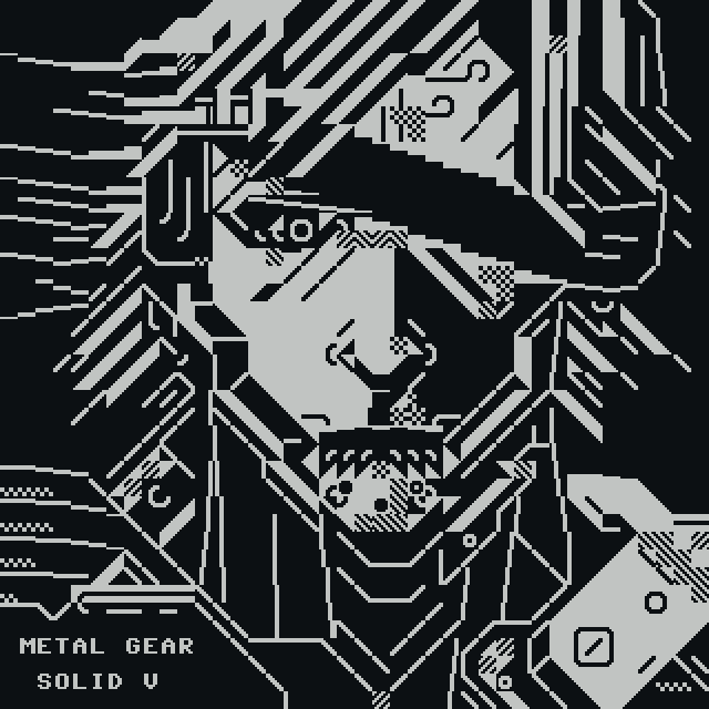 om-mgs5.png, metal, metal gear, metal gear solid, metal gear solid five, game, videogame, video game, otium, om, snake, portrait, pestcii, gray, grey, grayscale, greyscale