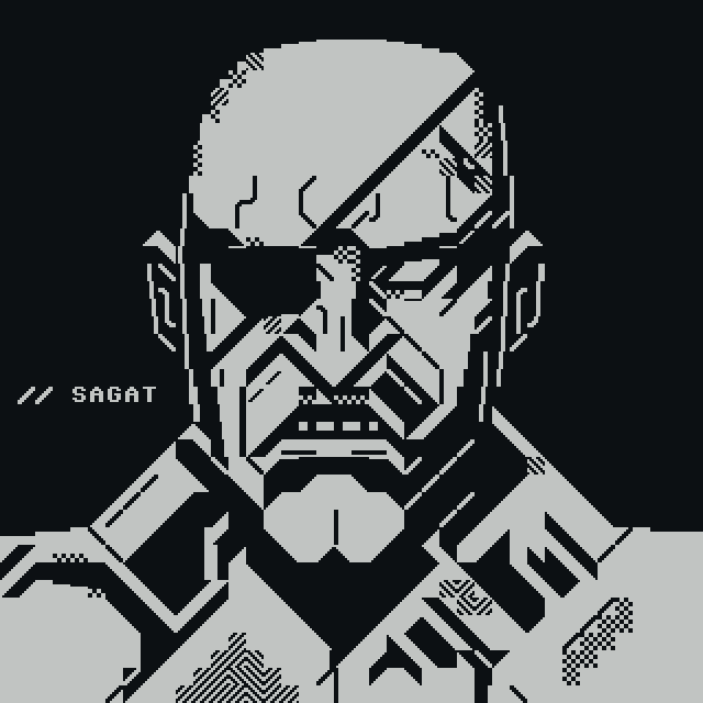 om-sagat.png, saga, otium, om, video game, game, videogame, sf2, street fight, street fight 2, boss, punch, portrait, kick, petscii, eyepatch, angry, gray, grey, grayscale, greyscale