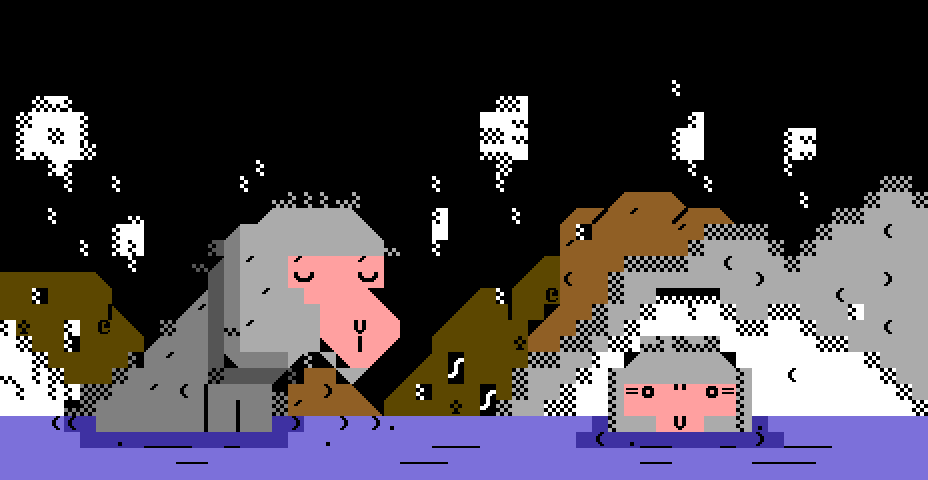 ptsc-japanese monkeys.png, animal, animals, japan, japanese, bath, hot, water, night, sky, monkey, monkeys, petscii, cola, petscii cola