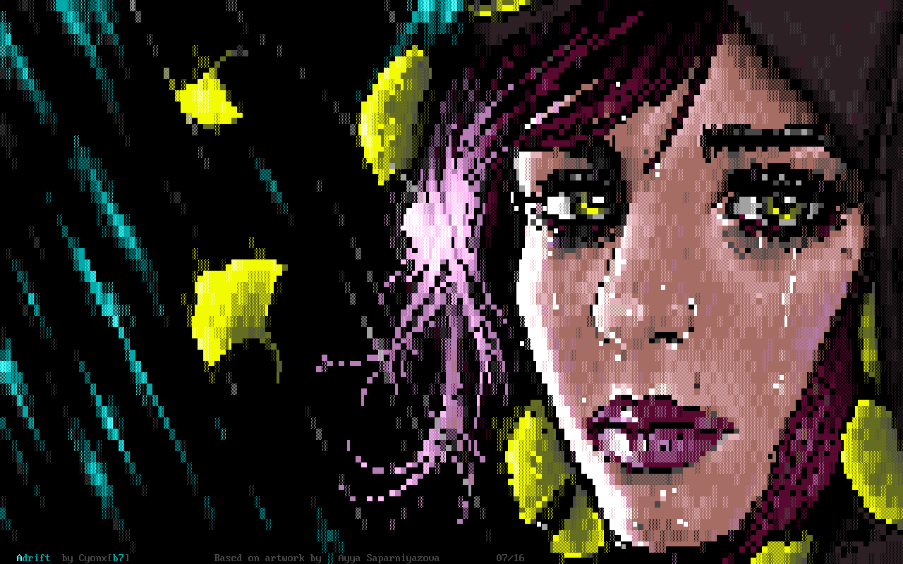 CX-Adrift.xb, cyonx, girl, woman, portrait, eyes, eye, mouth, lady, hair, crying, bin, xbin, purple, rain, yellow, cyan