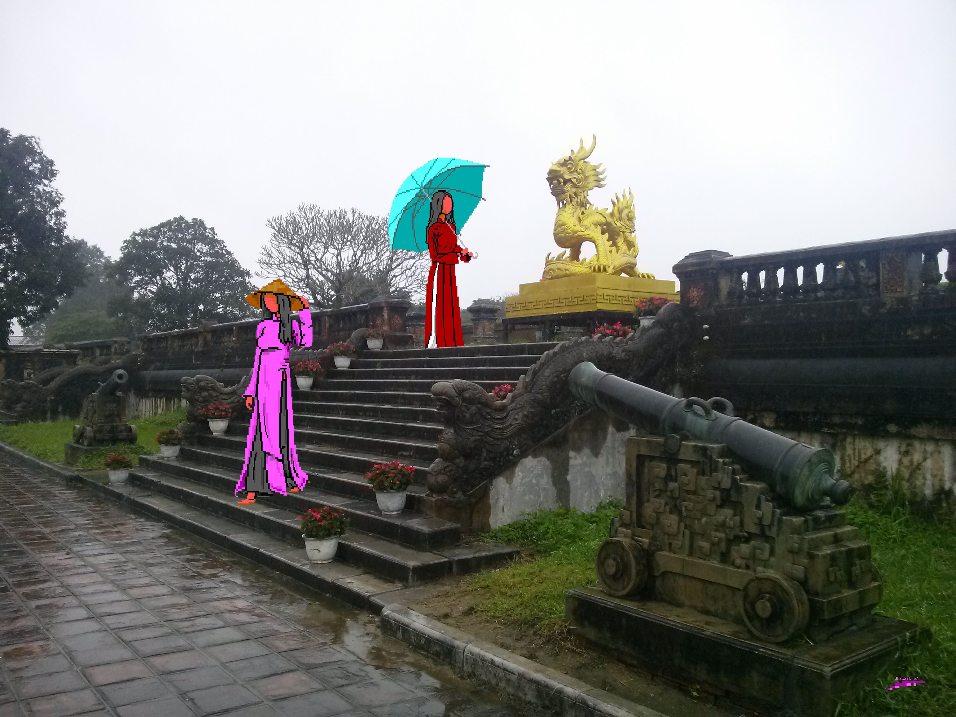 wz-vietnam-forbidden-purple-city-hue-jpg, whazzit, vietnam, photo, photography, red, cyan, purple, dragon, cannon
