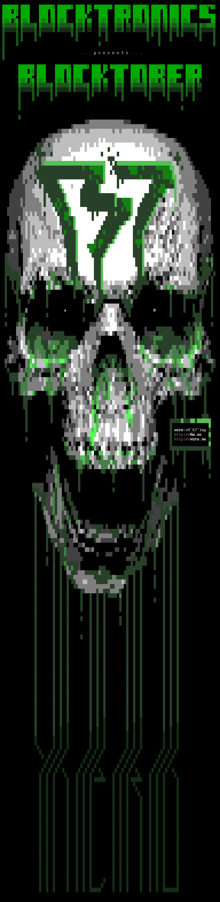 x0-toxic-skull-ans, xero, xer0, x0, skull, blocktronics, green, white, gray, b7, blocktober