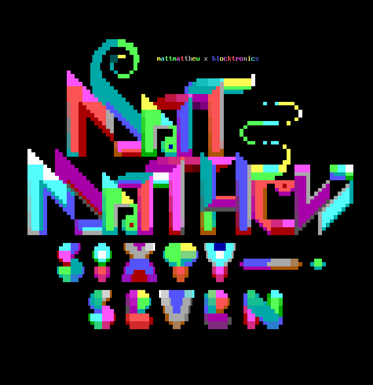 logo, font, typography, mattmatthew, 2m, 67, blocktronics, sixty seven, seven, colorful, red, purple, green, blue, yellow