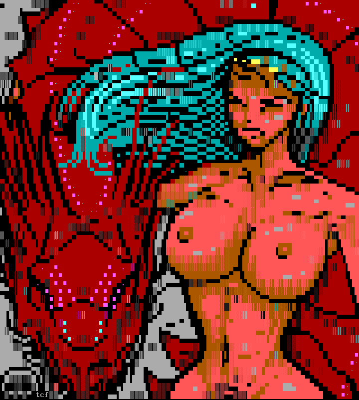 calendar, tcf, woman, breast, naked, girl, chick, dragon, red, cyan, hair, female