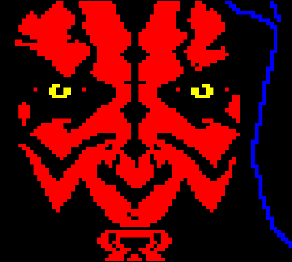 star wars, horsenburger, detention block, detention block aa-23, movie, movies, movie character, vilain, red, dark, evil, black, darth, darth maul, maul, eye, eyes, yellow, blue