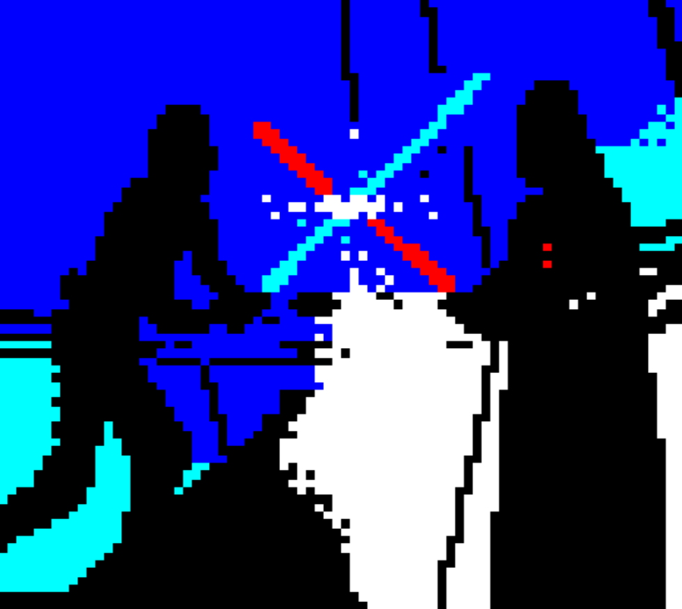 star wars, horsenburger, detention block, detention block aa-23, movie, movies, movie character, luke, skywalker, darth, darth vader, vader, duel, light saber, blue, red