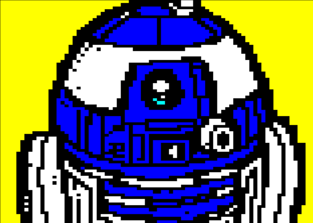 star wars, horsenburger, detention block, detention block aa-23, movie, movies, movie character, droid, robot, r2, r2d2, r2-d2, white, blue, yellow
