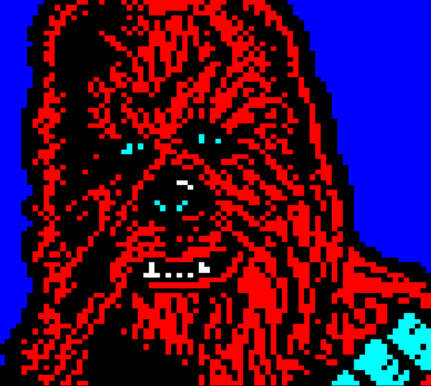 star wars, horsenburger, detention block, detention block aa-23, movie, movies, movie character, chewie, alien, chewbacca, monster, red, blue