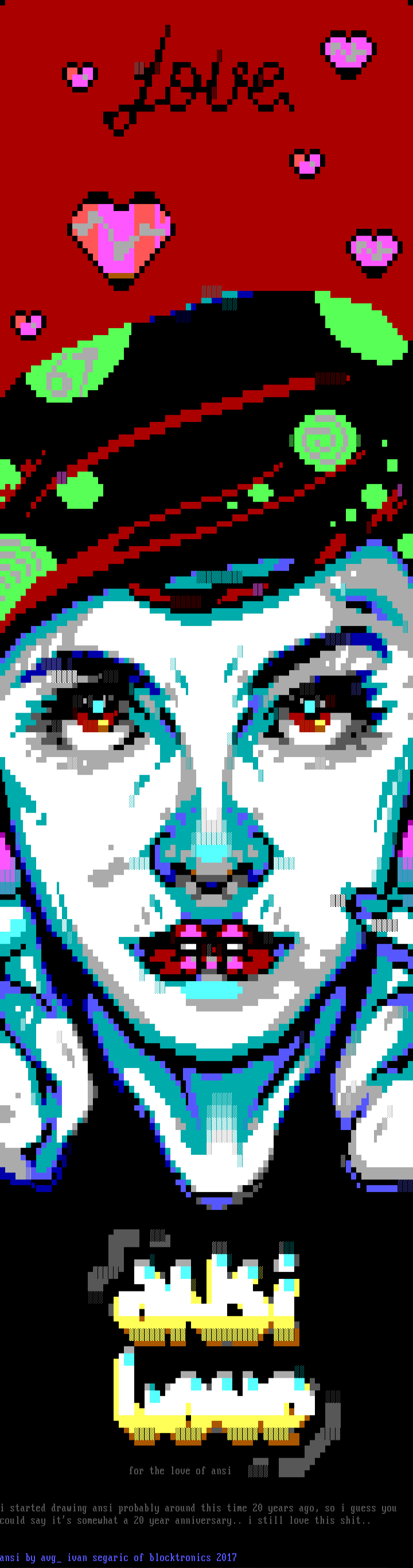 woman, red, love, cyan, white, blue, eye, eyes, hand, hands, yellow, ansi love, ansi, ansilove, font, heart