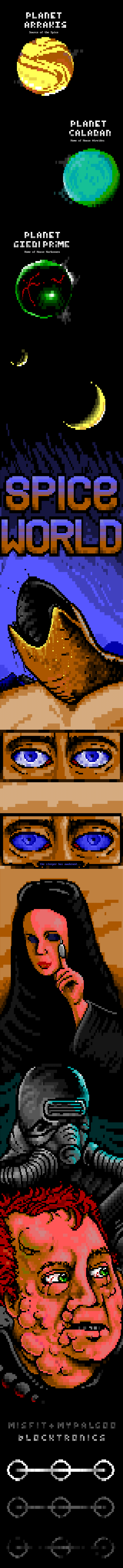 dune, spice, eye, eyes, monster, desert, sand, book, brown, joint, ansi joint, red, woman, hand, finger, misfit