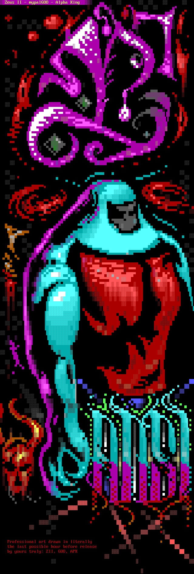 zeus ii, zii, goo, mypal, mypal goo, mypalgoo, alpha king, apk, red, joint, ansi joint, cyan, purple, ansi logo, red, yellow, arm, fire, flame, flames